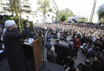 Sunni Muslim Salafist leader Ahmad al-Assir addresses his supporters during a protest in Beirut