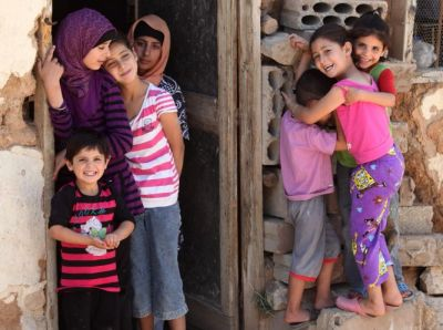 Syrian refugees living in a mosque in Arsal, in the Bekaa valley, Lebanon.