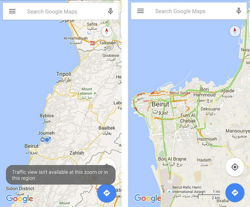 Abc Traffic Map.How To Enable Google Traffic View In Lebanon Blog Baladi