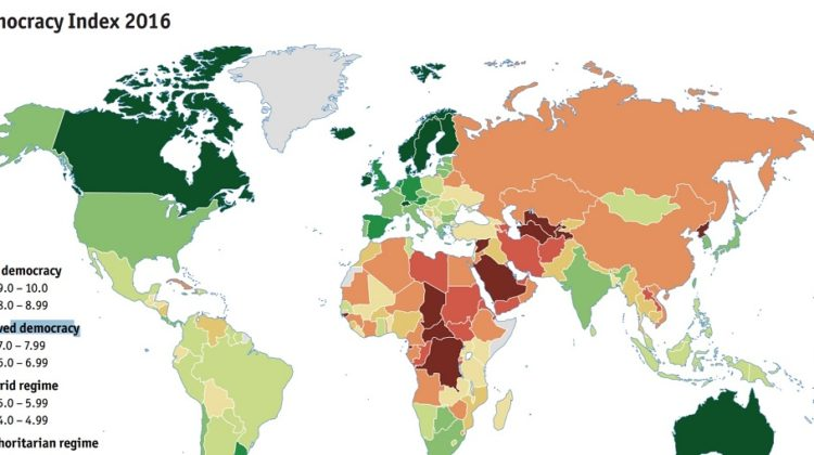 The 2016 Democracy Index: Lebanon a Hybrid Regime, The U.S A Flawed Democracy
