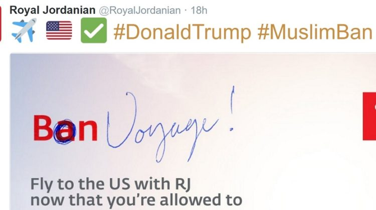 "Royal Jordanian Mocks Trump's ""Muslim"" Ban Once Again"
