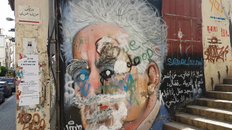Said Akl Graffiti Vandalized in Gemmayze