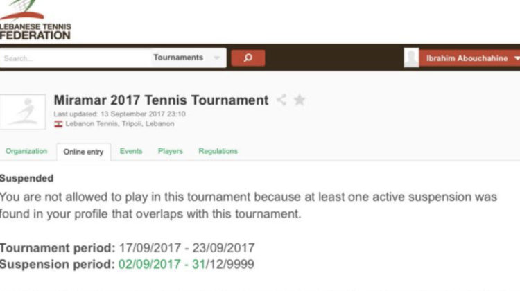 Lebanese Tennis Player Banned for 7982 Years ?!?