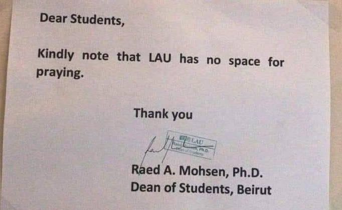 No, LAU Did NOT Forbid Students from Praying on Campus