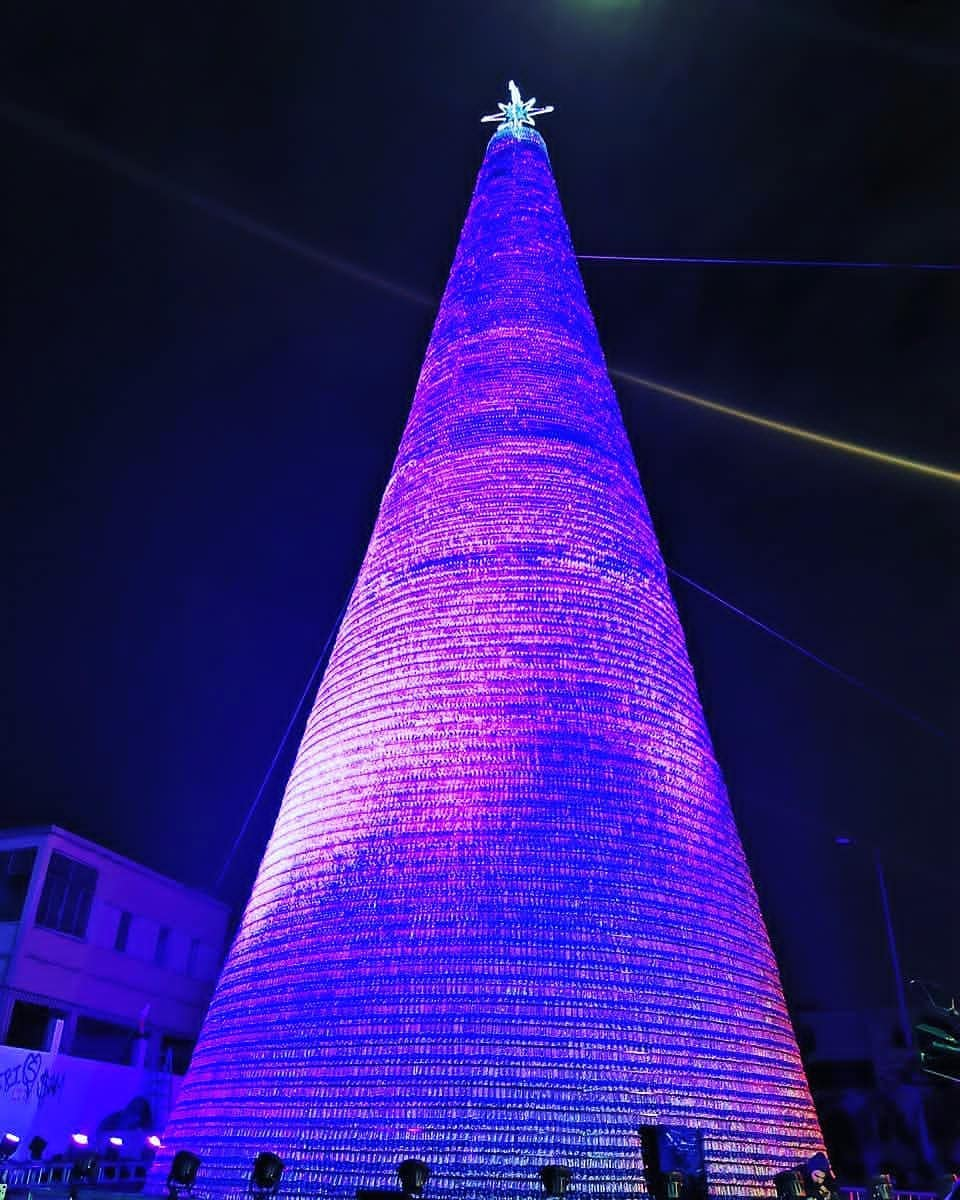 Recycled Plastic Christmas Tree: Chekka Christmas Tree Made Out Of 129K Plastic Bottles